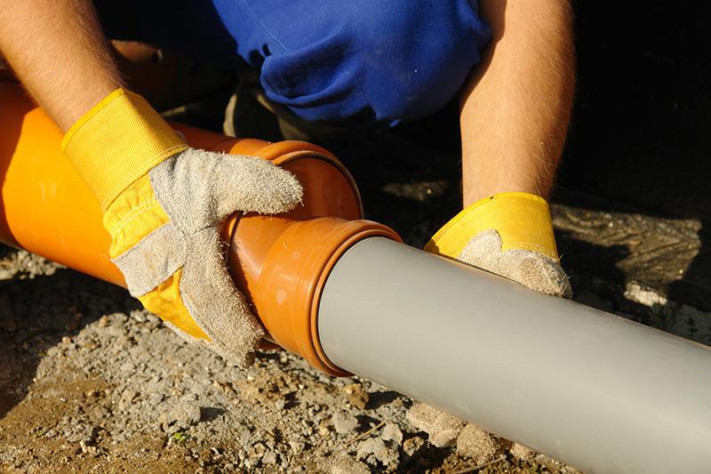 Installing main plumbing line